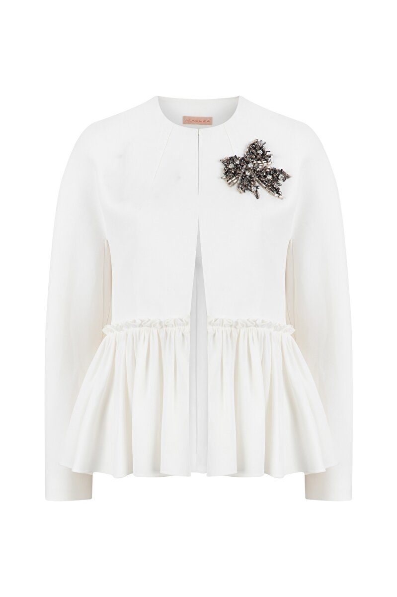 CRYSTAL EMBROIDERED CREPE JACKET WITH SHIRRED WAIST