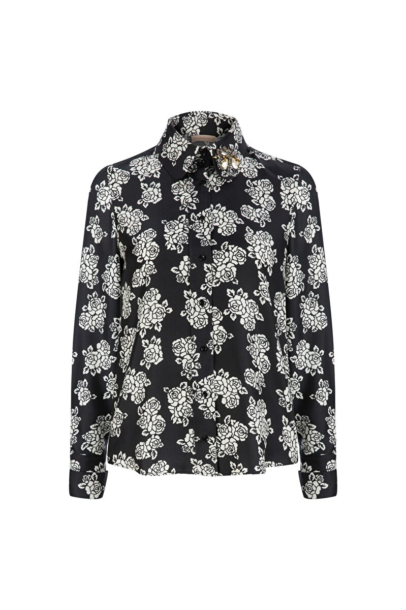 SILK TWILL BLOUSE WITH EMBROIDERED NECK AND FLOWER PATTERN