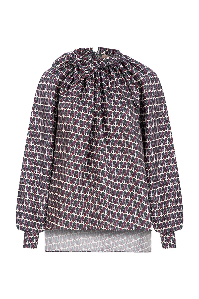 GEOPYRAMID PATTERNED BLOUSE WITH SHIRRED NECK AND BOWTIE
