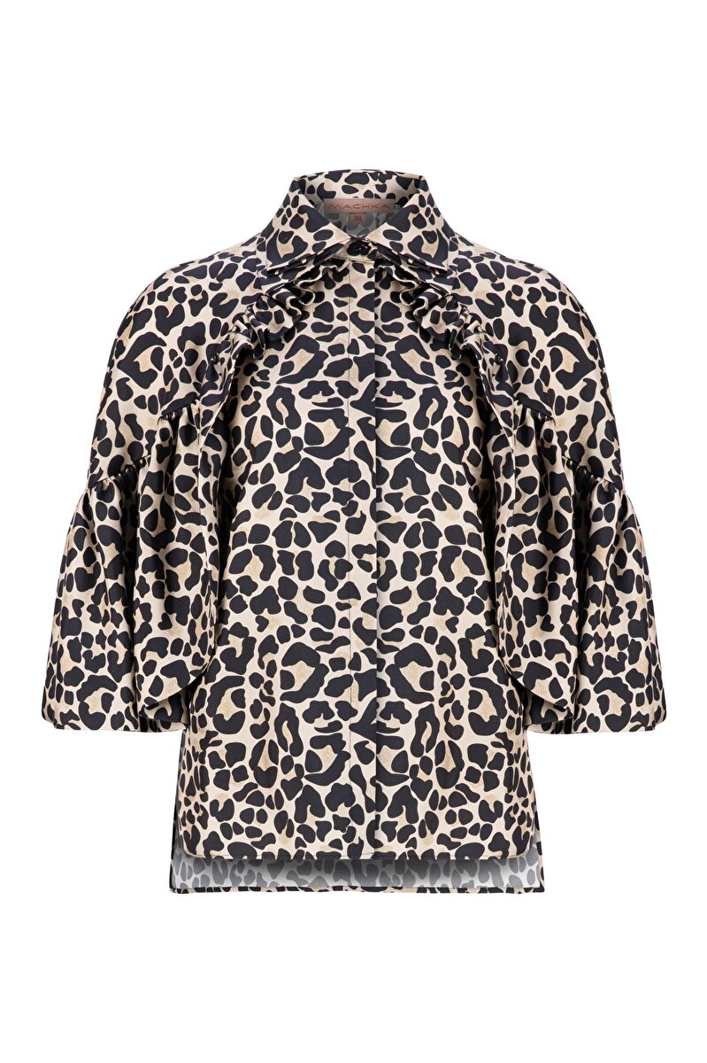 RAGLAN SLEEVED CAPE DETAILED LEOPARD PATTERNED SILK BLOUSE