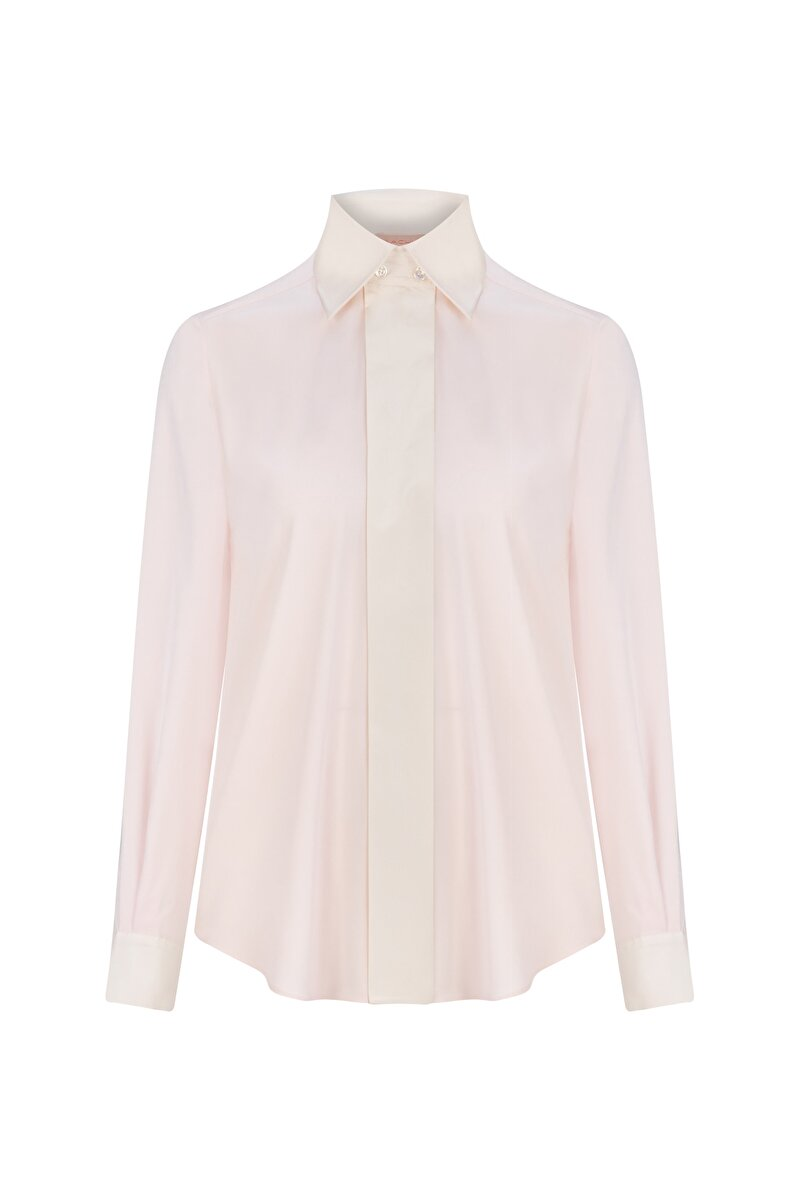ORGANZA PLACKET AND NECK DETAILED SILK GEORGETTE BLOUSE