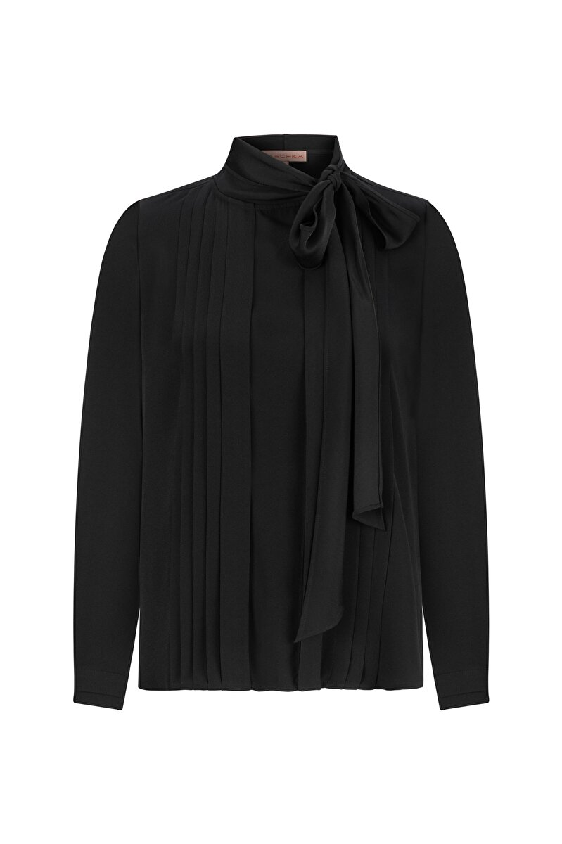 PLEATED SATIN BLOUSE WITH NECK TIE