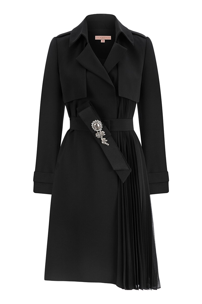 PLEATED CREPE TOPCOAT WITH CRYSTAL EMBROIDERY AND CHIFFON