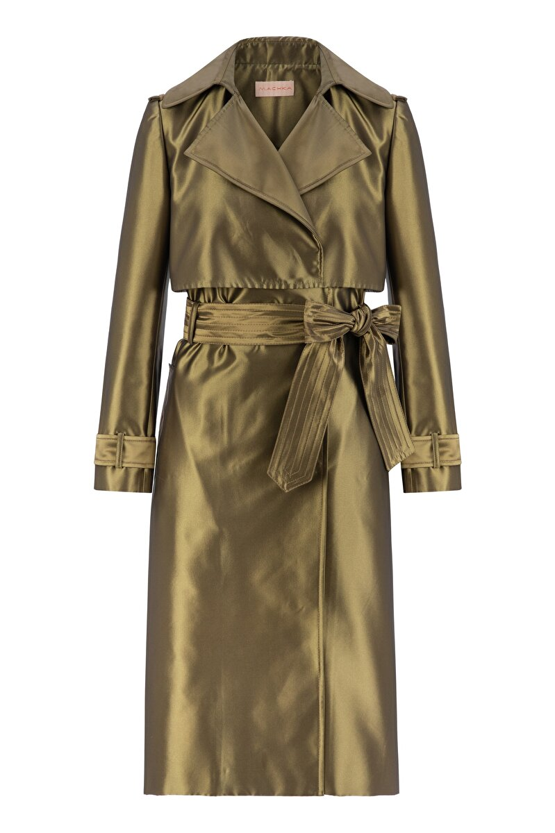 DOUBLE SIZE DETAILED SATIN TRENCH COAT
