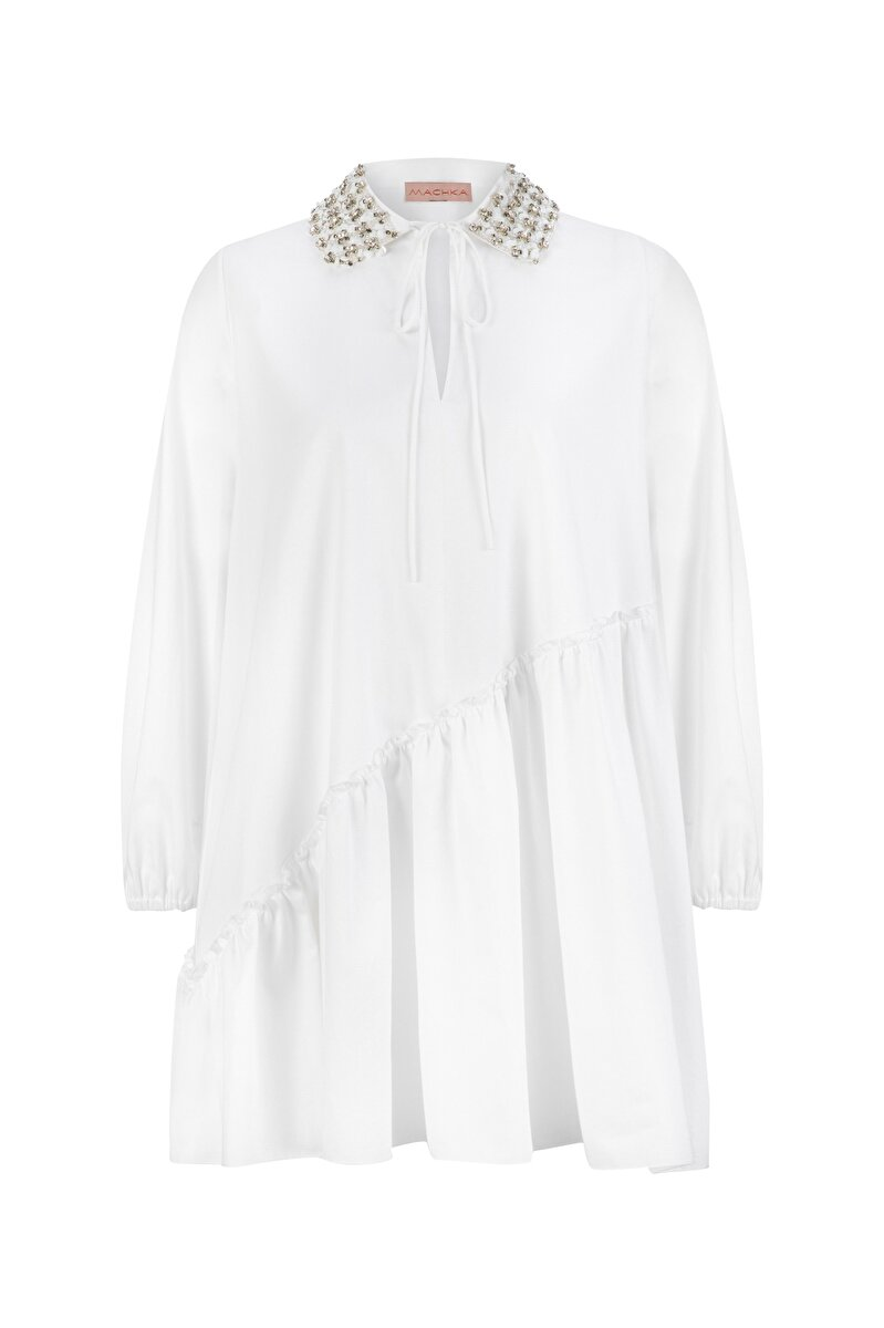 ASYMMETRICAL FLARED POPLIN SHIRT WITH EMBROIDERED NECK