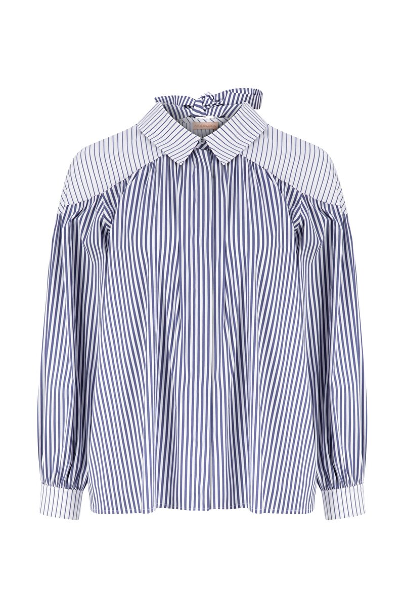 BOW DETAILED STRIPED POPLIN SHIRT