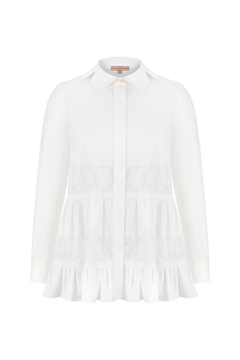LACE AND FLARE DETAILED POPLIN SHIRT