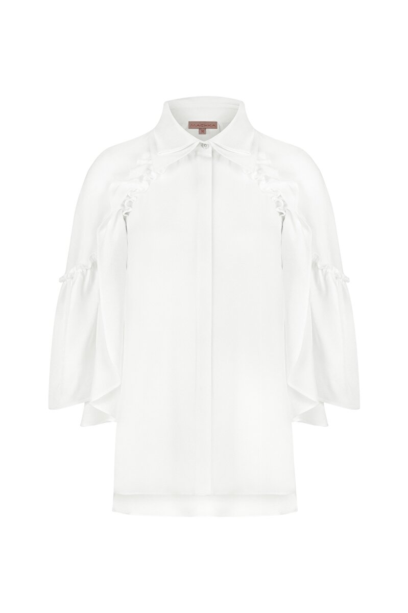 DOUBLE NECK FLARED POPLIN SHIRT