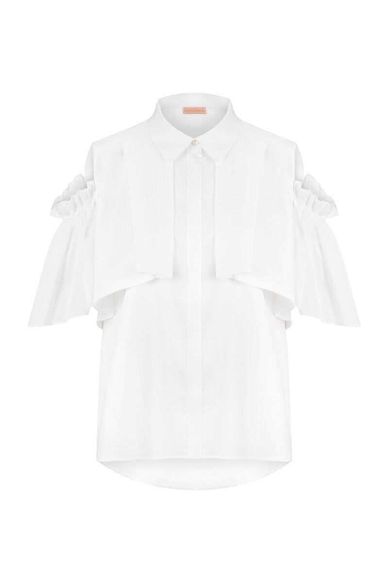 VOILE POPLIN SHIRT WITH SHIRRED SLEEVES AND SHOULDER CLEAVAGE