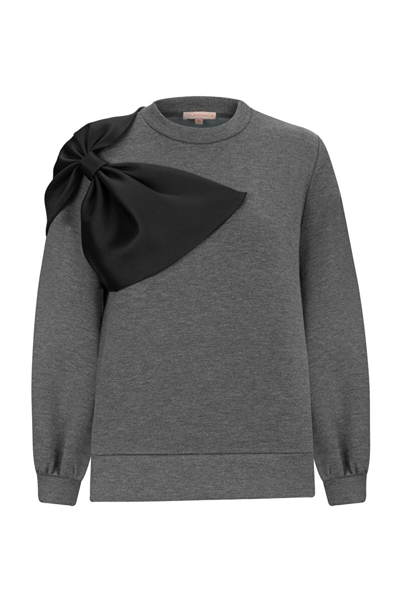 BONDED JERSEY SWEATSHIRT WITH SATIN BOW