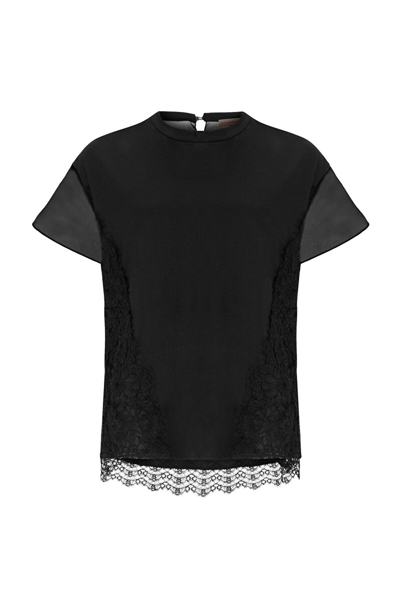 SHIRT WITH LACE ON THE SIDES AND ORGANZA SLEEVES
