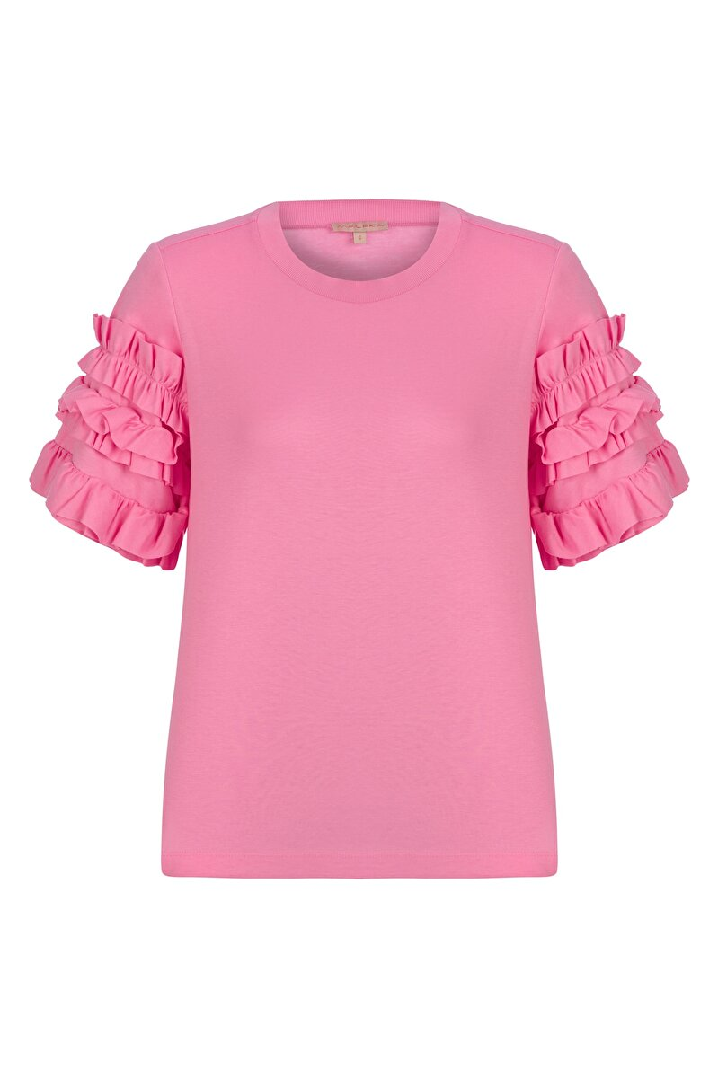 JERSEY BLOUSE WITH FRILLED SLEEVES AND RIBBED NECK