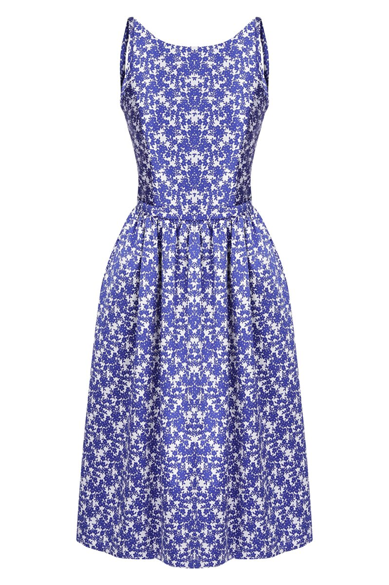 PIPING AND RIBBON DETAILED BACK WAIST FITTING FLOWER JACQUARD DRESS