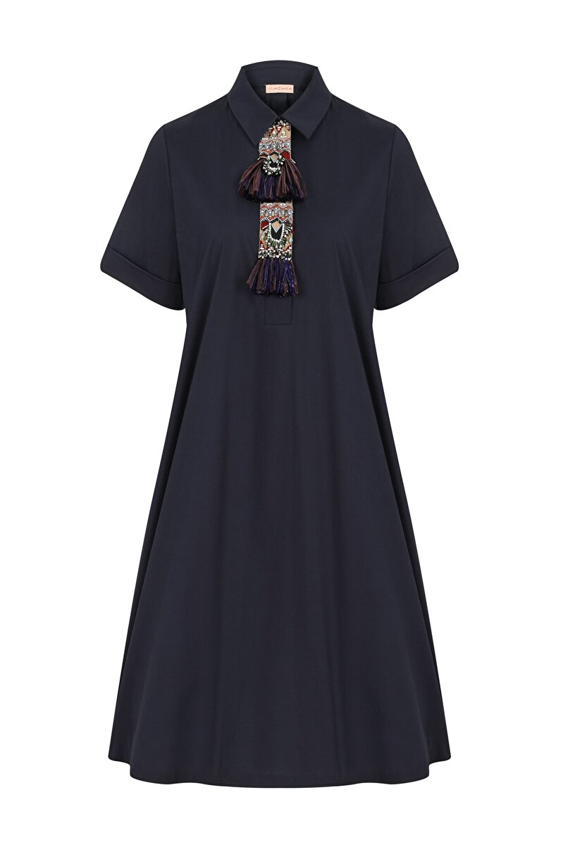 UNIQUE ETHNIC EMBROIDERED DETAILED A-LINE POPLIN DRESS