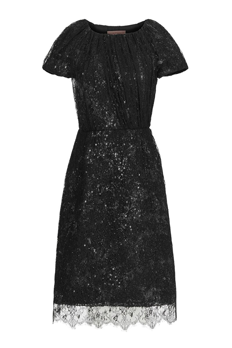 SEQUIN EMBROIDERED AND LACE FABRIC COMBINATION DRESS