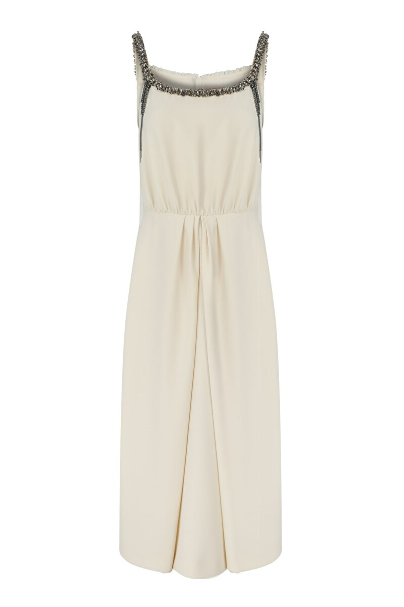 CRAPE DRESS WITH STRASS, STONE AND FRINGE EMBROIDERED NECK