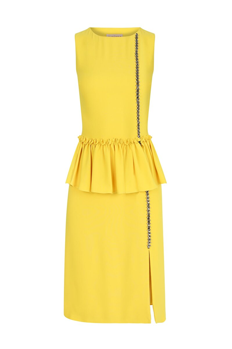 DRESS WITH FRILLED WAIST AND EMBROIDERED STRIP