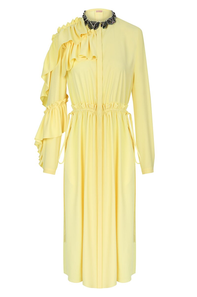 GEOMETRIC LACE ORNAMENT COLLAR AND SLEEVE CUFF ANVER SATIN MAXI DRESS