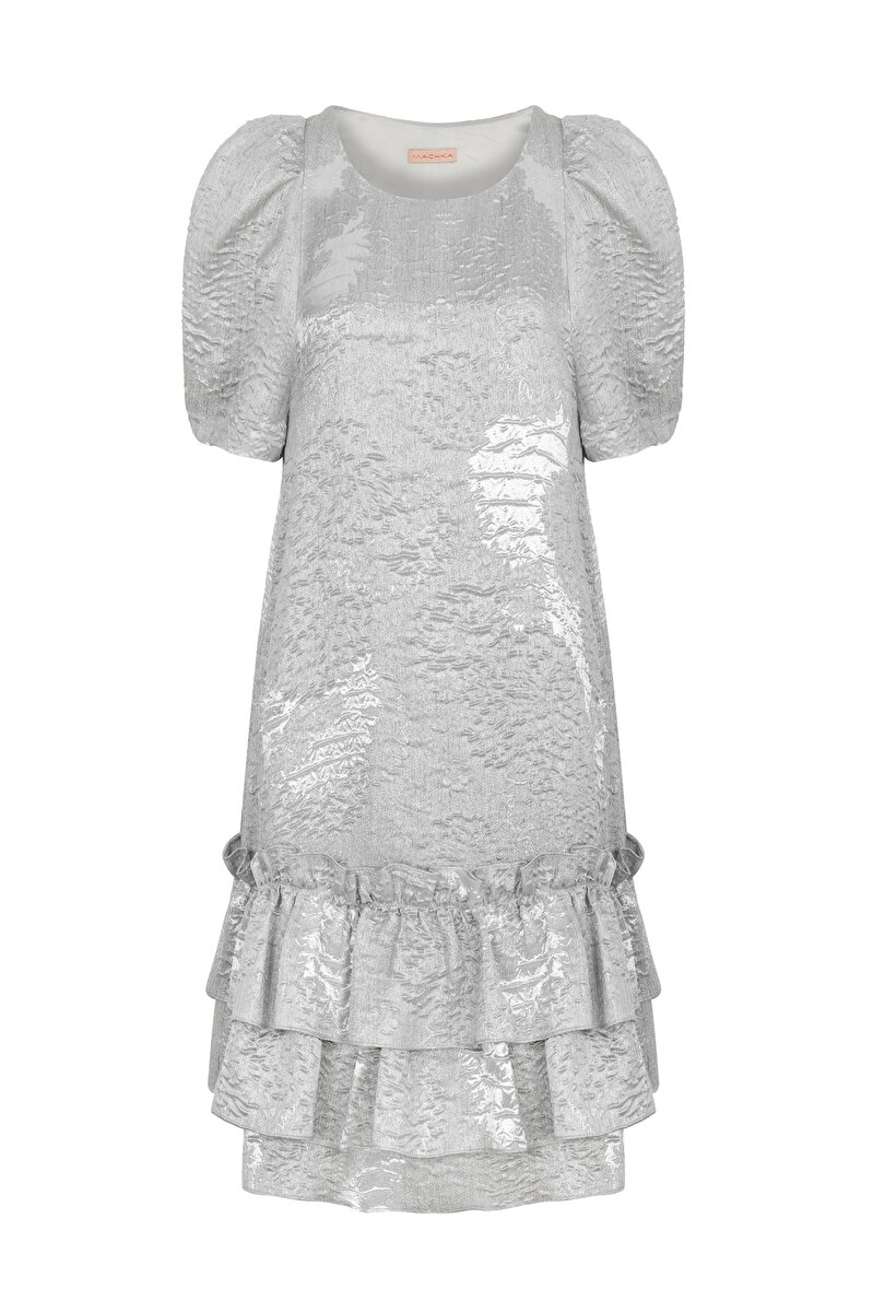 BALLOON SLEEVED JACQUARD DRESS WITH FRILLED SKIRT
