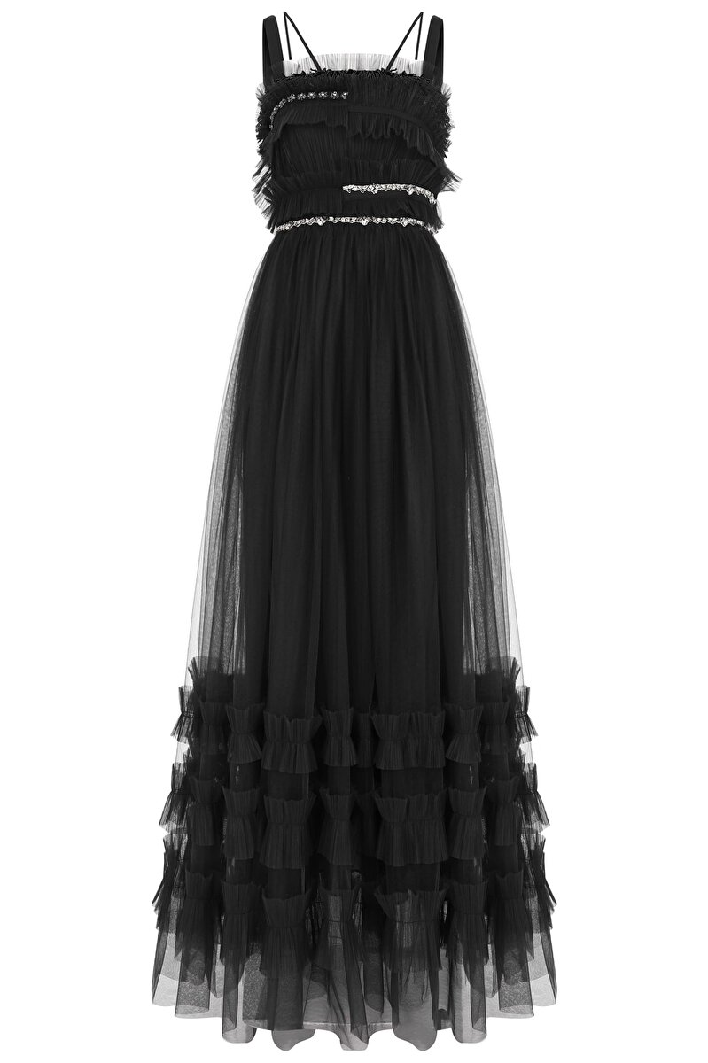 STRAP EMBROIDERED AND RUFFLE DETAILED THIN STRAP TULLE EVENING DRESS