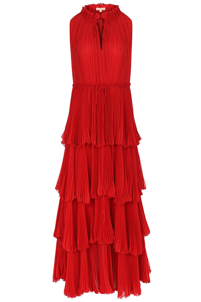LACE AND PLEATED DETAILED GRANDAD COLLAR CHIFFON DRESS