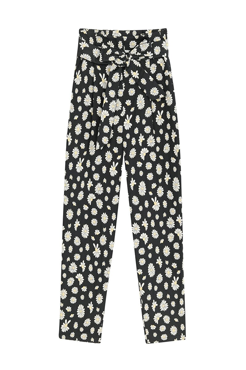 HIGH WAISTED FLOWER PATTERNED BELTED PANTS