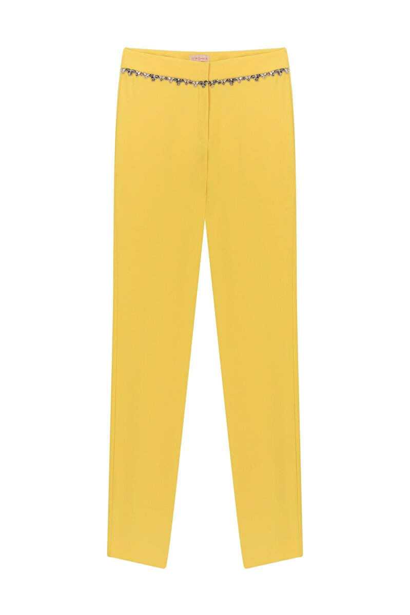CIGARETTE CREPE PANTS WITH EMBROIDERED WAIST