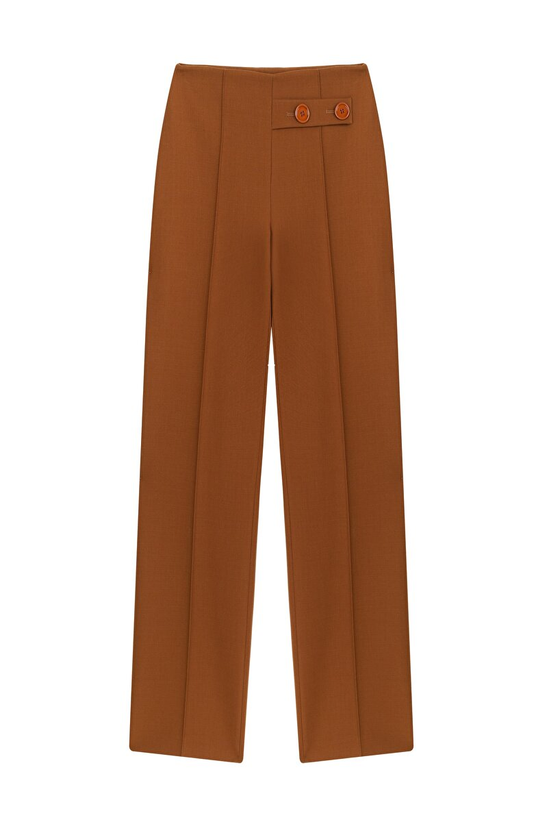 WOOL CRAPE PANTS WITH BUTTON DETAIL