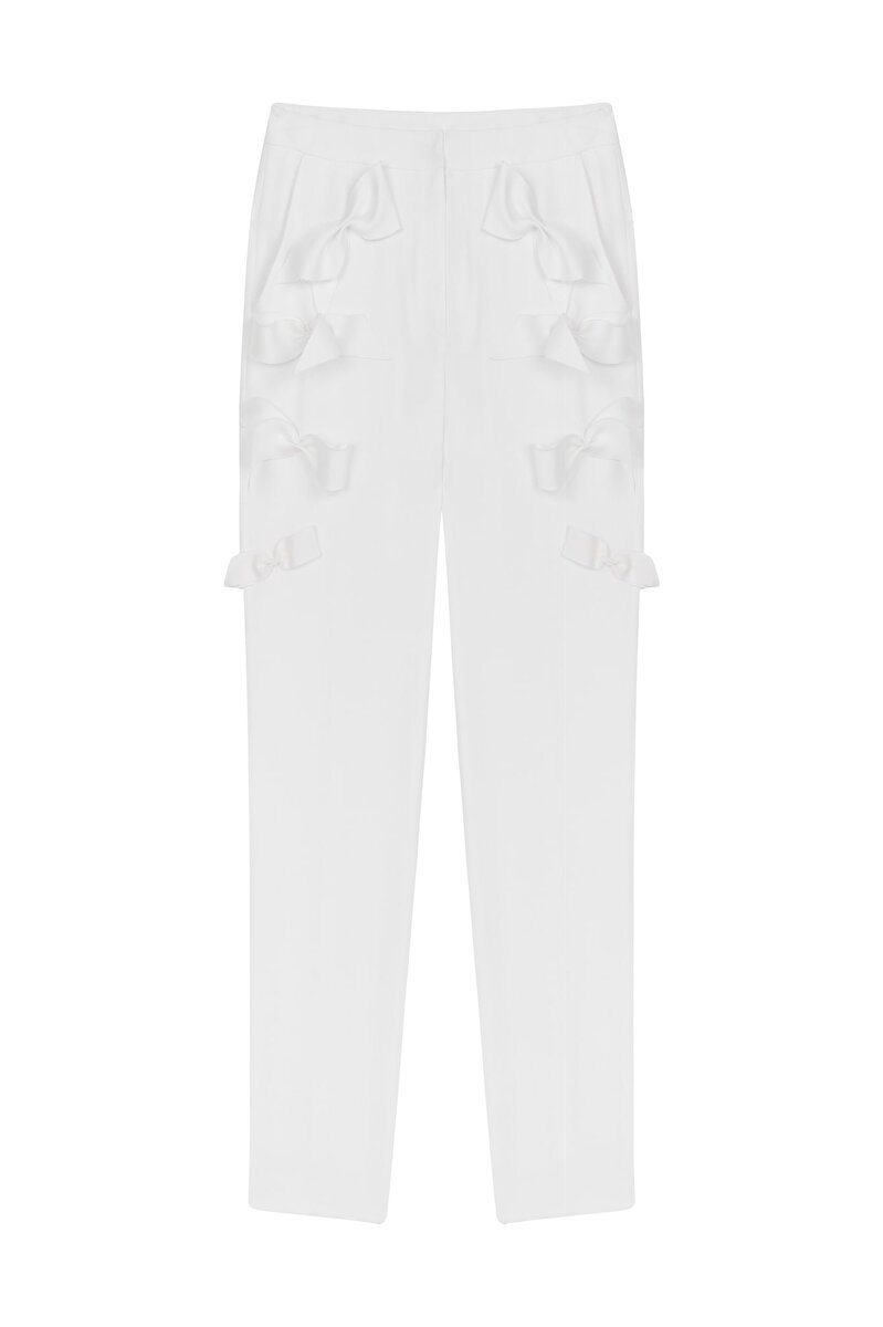 CIGARETTE CREPE PANTS WITH BOW DETAIL