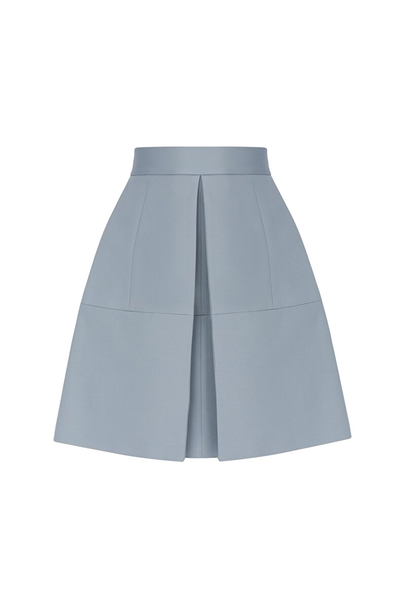 INVERTED PLEAT UNIQUE CUP DETAILED GABERDINE SKIRT