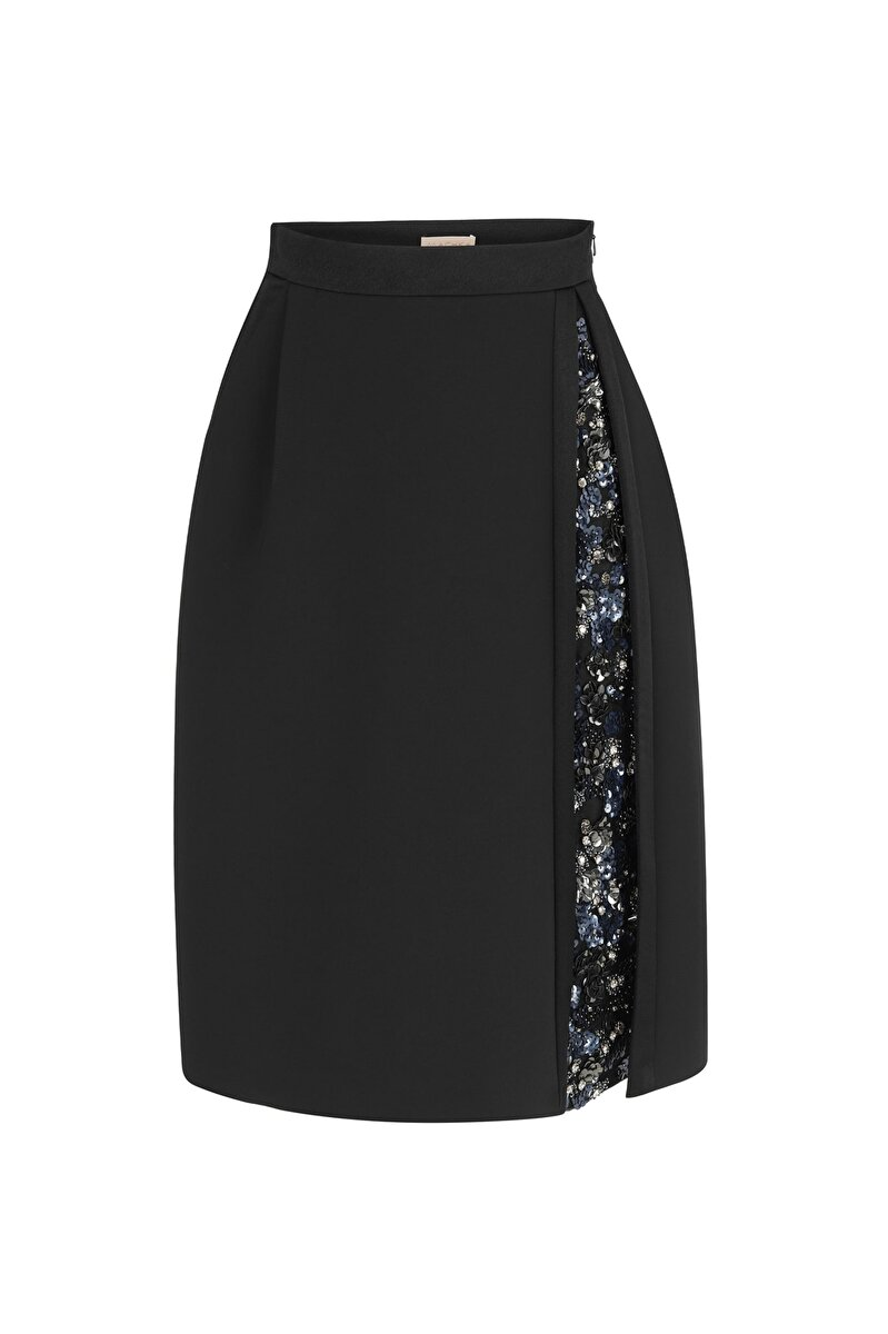 SLIT DETAILED CRAPE SKIRT