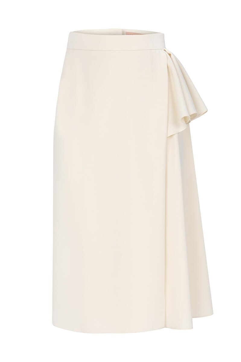 ASYMMETRIC DRAPE DETAILED CREPE SKIRT