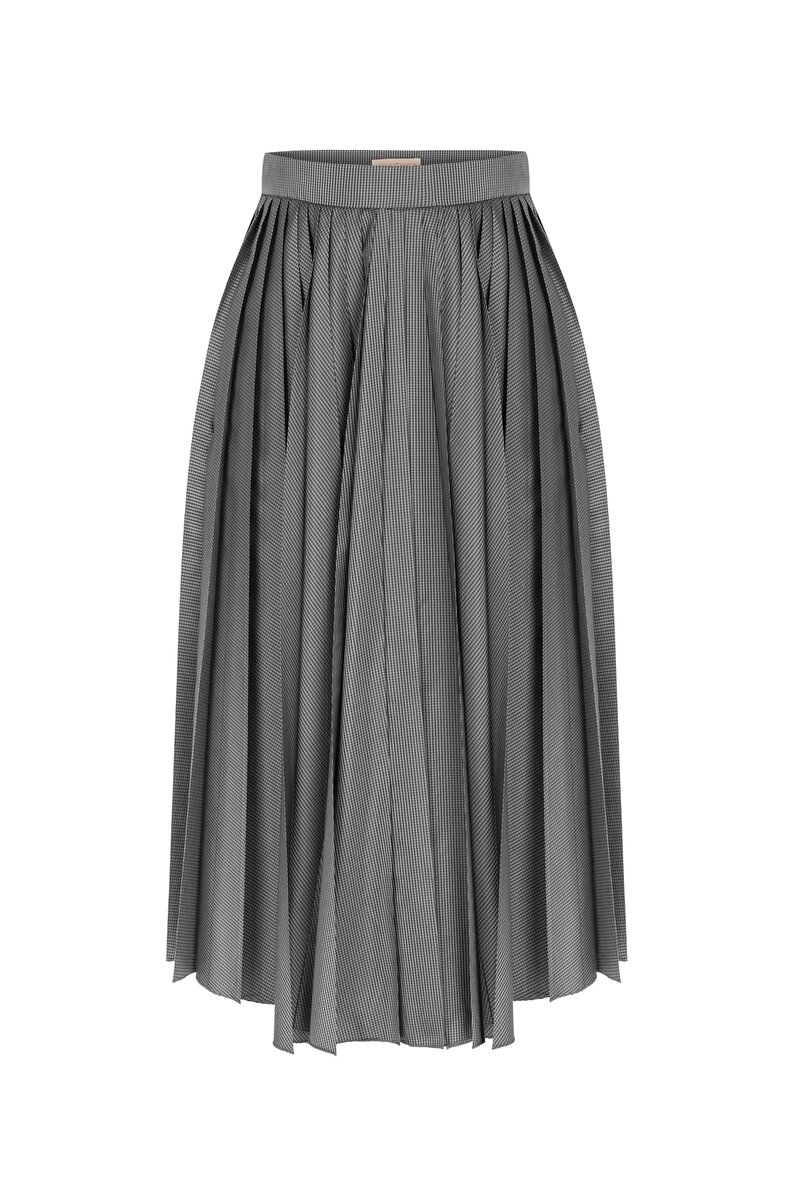 LEATHER BELT DETAILED CHECK PATTERNED TAFFETA PLEATED SKIRT