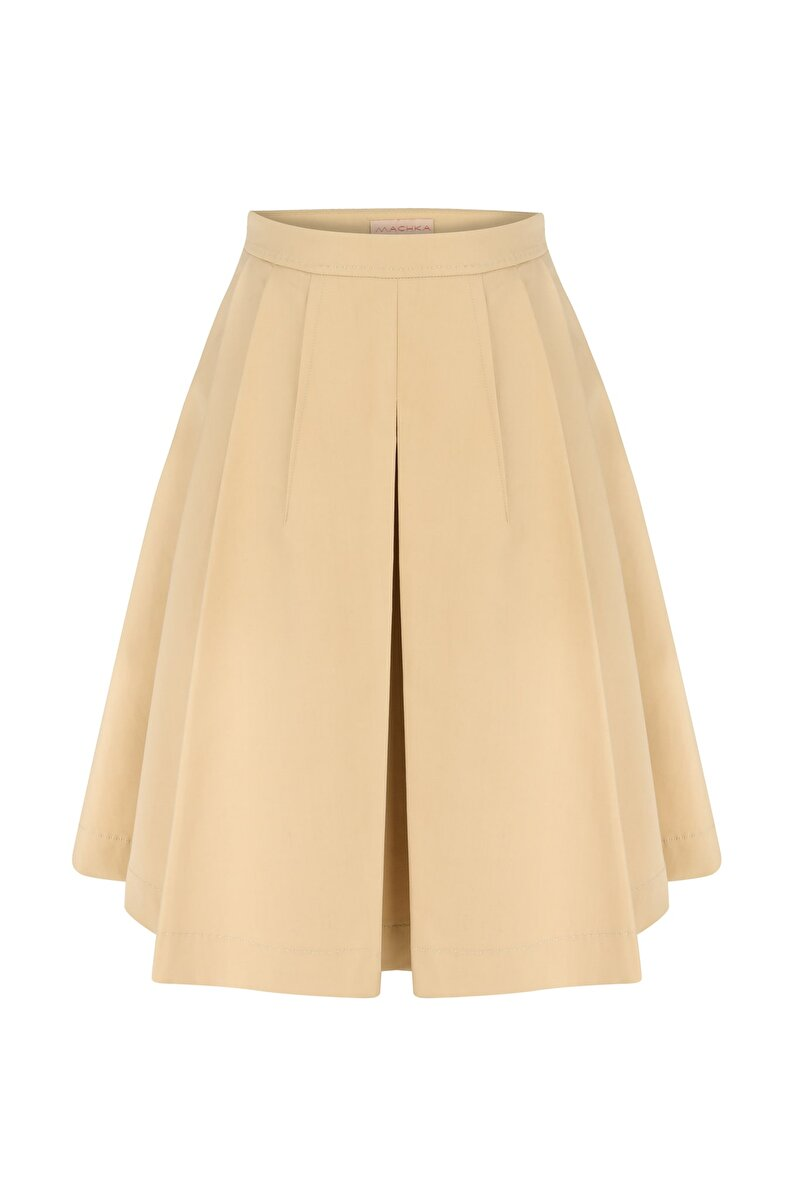 THIN GABERDINE SKIRT WITH FRONT PLEATS