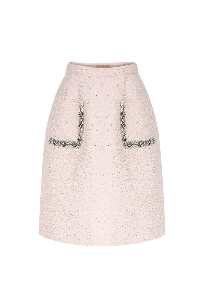 CRISTAL MOONLIGHT BAND EMBROIDERED DETAILED SEQUIN TWEED A-LINE SKIRT
