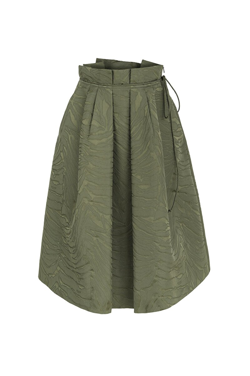 WIDE PLEATED WAIST LEAF JACQUARD A-LINE SKIRT