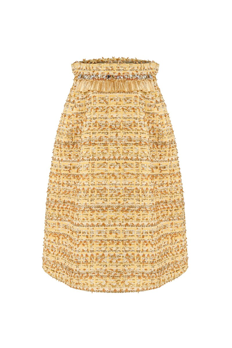 TWEED SKIRT WITH SAFARI RAFFIA DETAIL ON WAIST