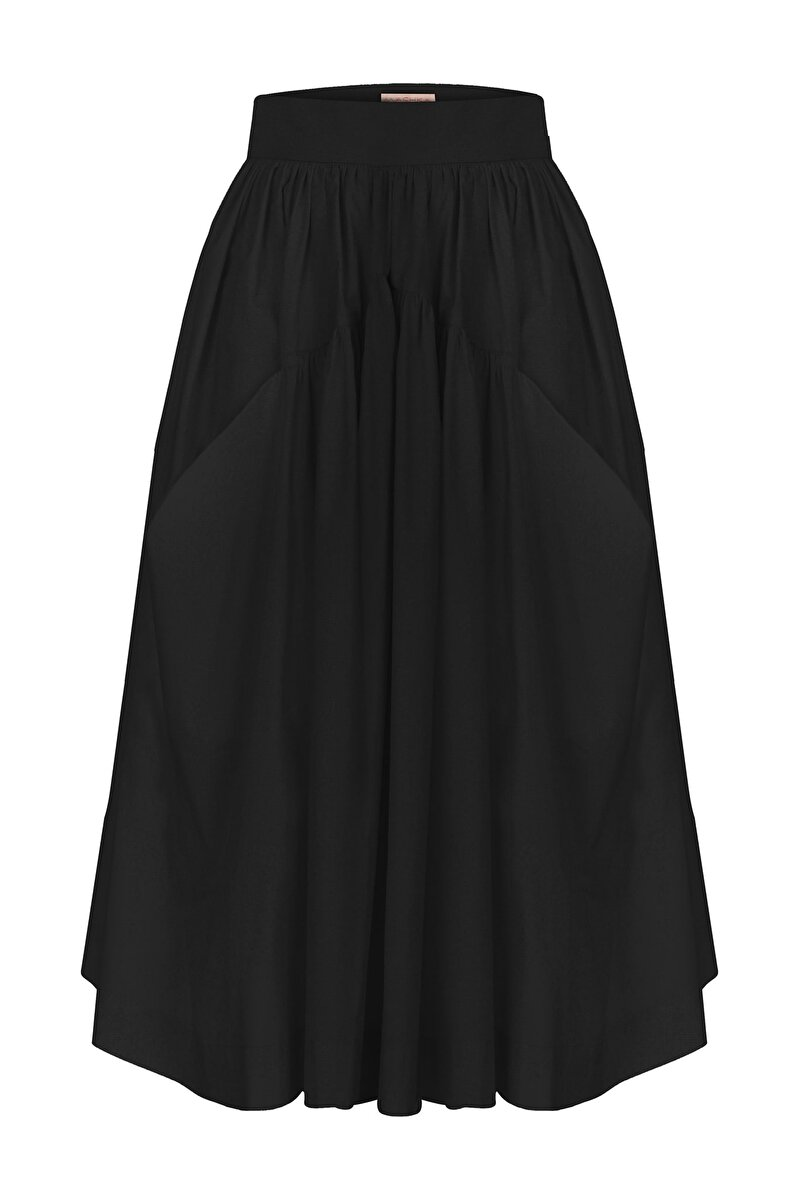 WIDE TWIST DETAILED THIN GABERDINE A-LINE SKIRT