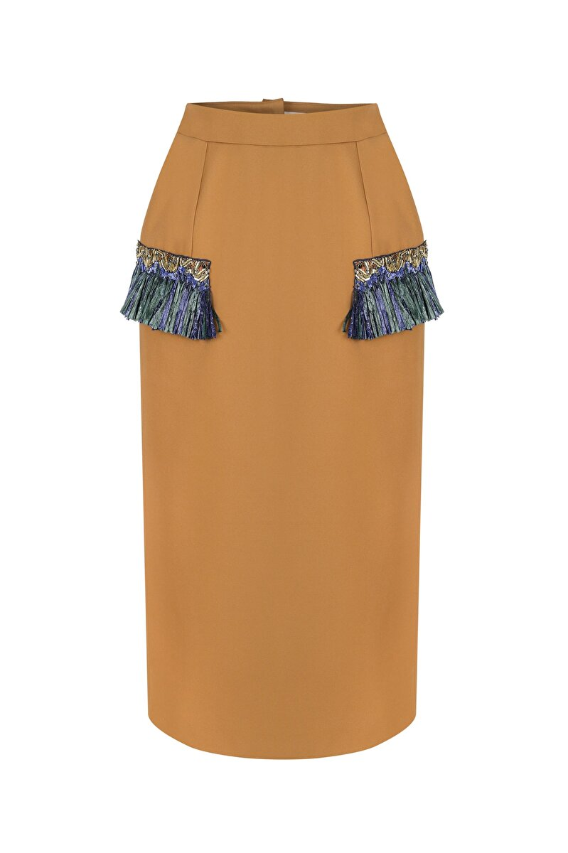 ABSTRACT RAFFIA POCKET EMBROIDERED GABERDINE PENCIL SKIRT