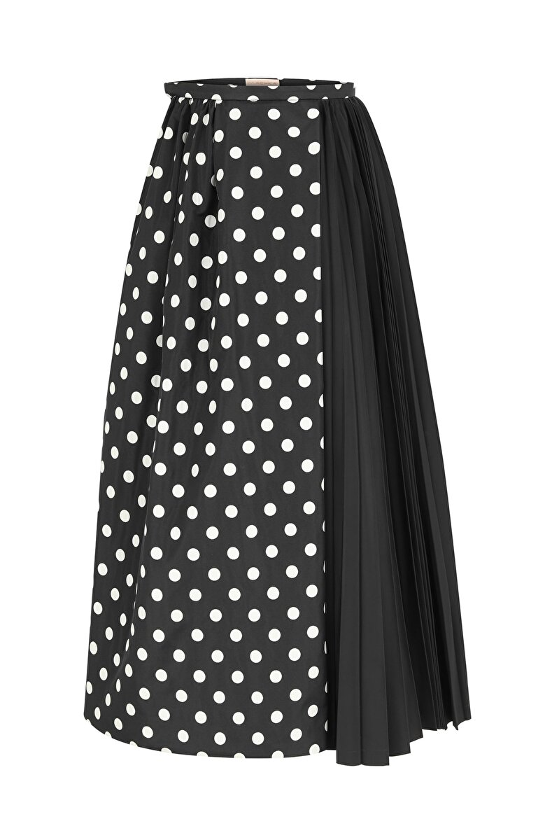 ASYMMETRICAL PLEATED DETAILED POLKA-DOTTED JACQUARD A-LINE SKIRT
