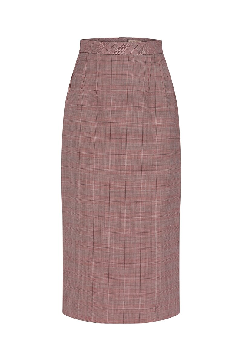 DOUBLE DART DETAILED CHECK PATTERNED PENCIL SKIRT