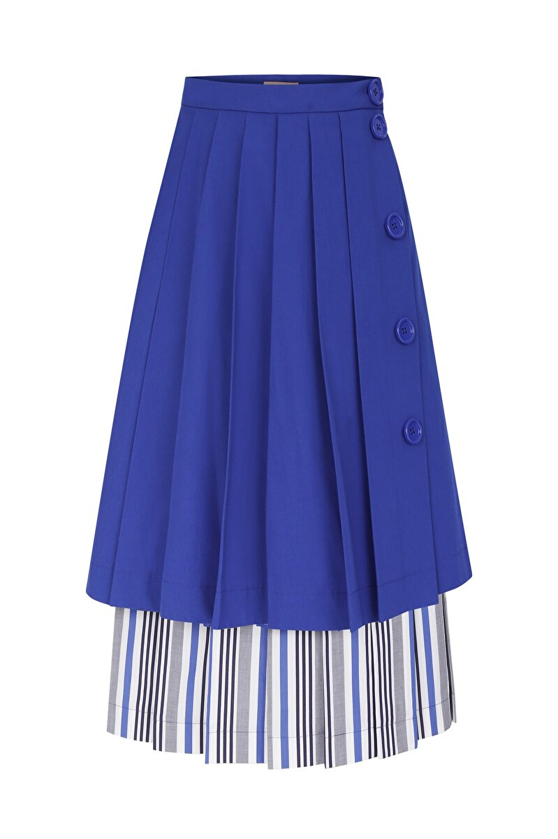 CHECK PATTERNED POPLIN ORNAMENT PLEATED DETAILED POPLIN SKIRT