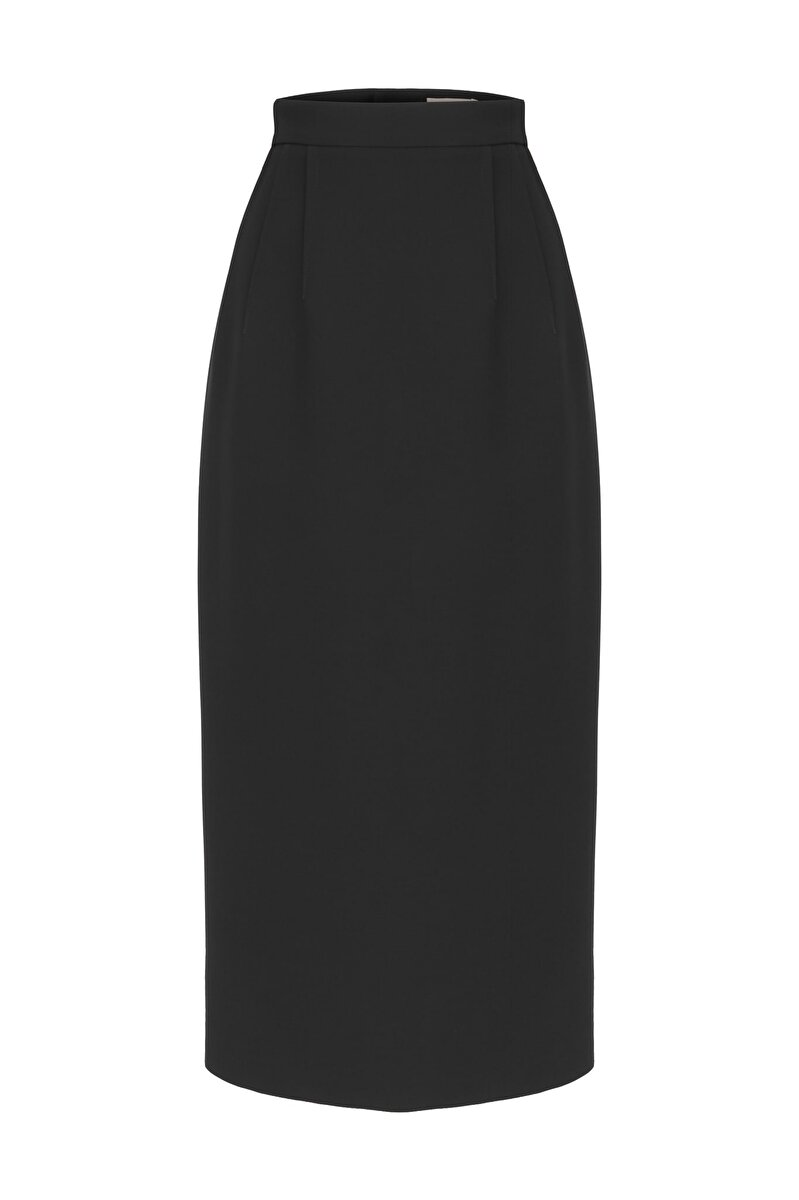 DOUBLE DART DETAILED CREPE PENCIL SKIRT