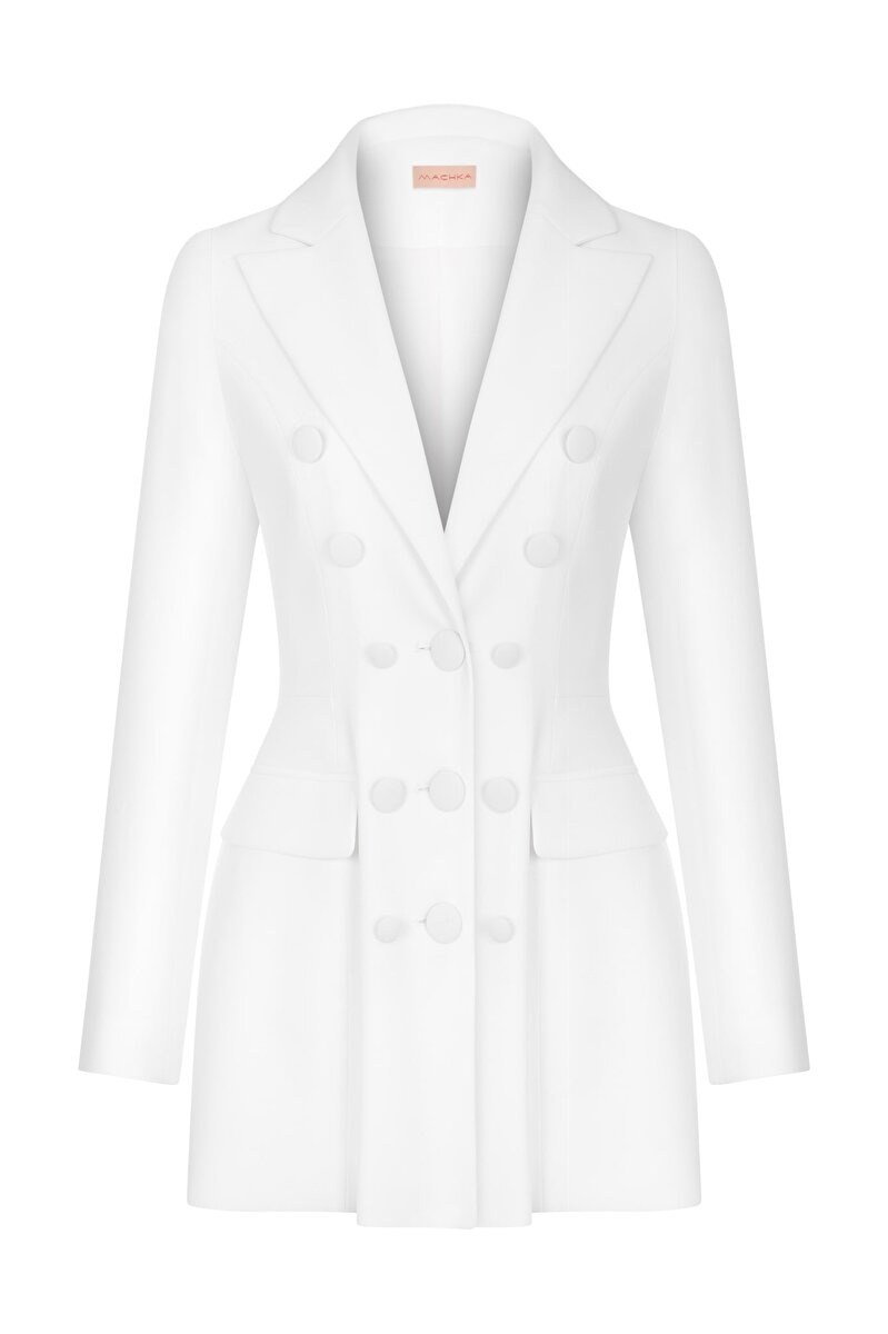 LONG JACKET WITH BUTTON ACCESSORY