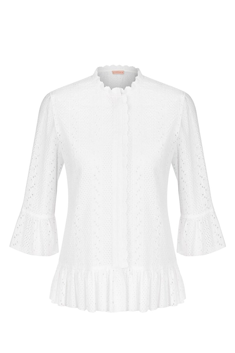 RUFFLE DETAILED HEM SCALLOP VOILE BLOUSE