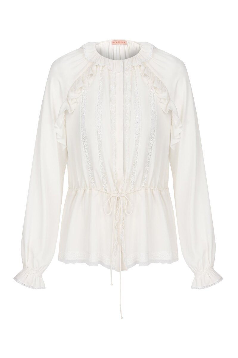 BAND LACE AND RUFFLE DETAILED TWISTED WAIST SILK GEORGETTE BLOUSE
