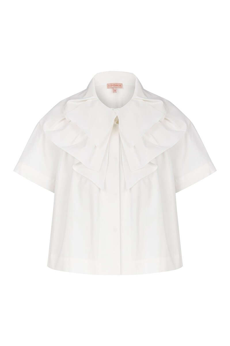 WIDE PLEATED COLLAR DETAIL HALF SLEEVE POPLIN SHIRT