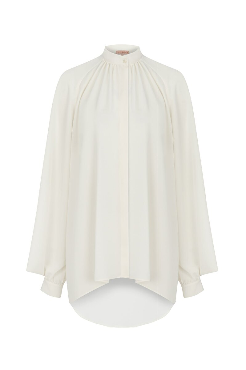 CRAPE SATIN BLOUSE WITH DIFFERENT SLEEVES