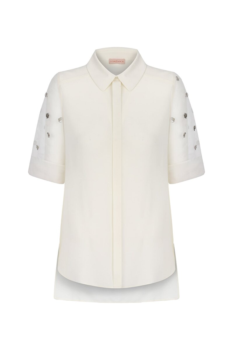 CRAPE SATIN BLOUSE WITH ORGANZA SLEEVES AND FLOWER EMBROIDERY