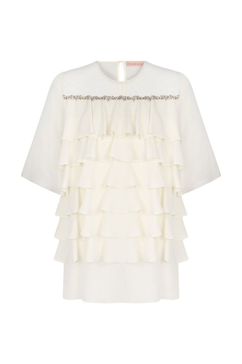 CRISTAL STRIPE EMBROIDERED YOKE DETAILED FLOUNCE CHIFFON BLOUSE